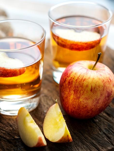 Fresh apple juice close up shot Free Photo