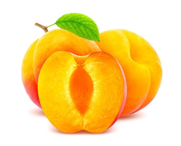 Fresh apricot fruits isolated on white Premium Photo