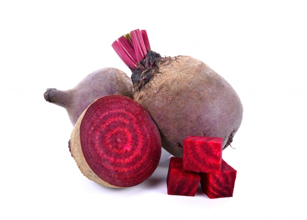 Fresh beetroot with half isolated Premium Photo