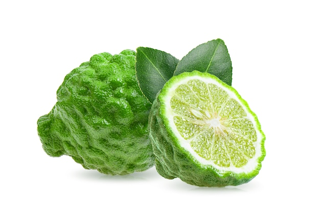 Fresh bergamot fruit with leaf isolated on white background Premium Photo