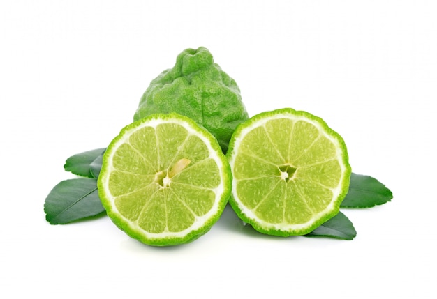 Fresh bergamot fruit with leaf isolated Premium Photo