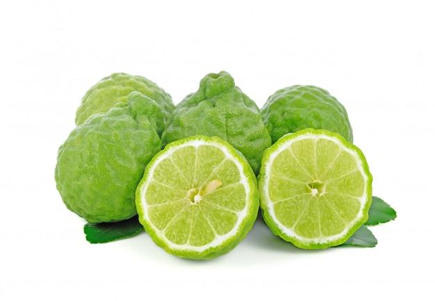 Fresh bergamot fruit with leaf isolated Premium Photo