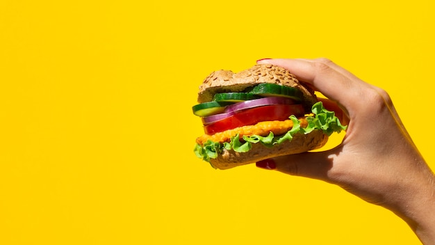 Fresh burger delicious with meat and veggie and copy-space Free Photo