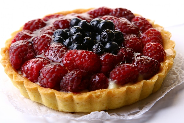 Fresh cake with blueberries and raspberries Free Photo