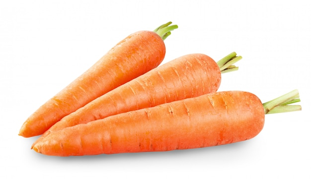 Fresh carrots isolated on white Premium Photo