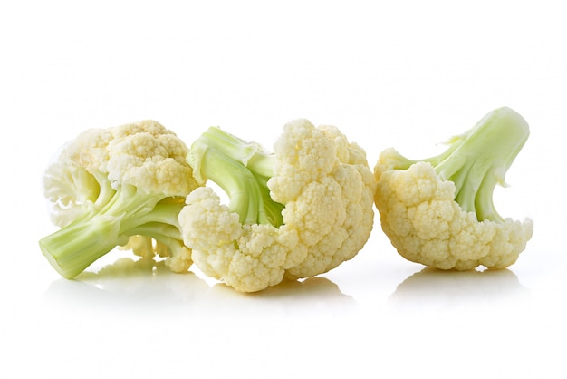Fresh cauliflower on white space Premium Photo