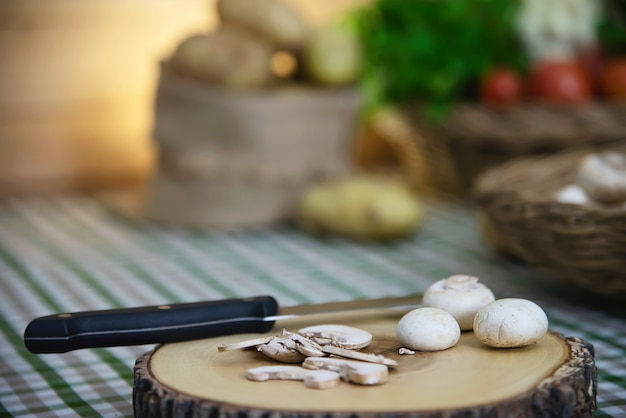 Fresh champignon mushroom vegetable in the kitchen Free Photo