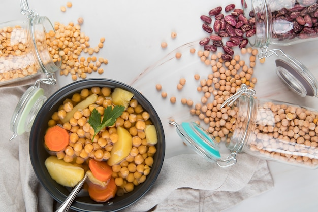 Fresh chickpeas and soup in bowl Free Photo