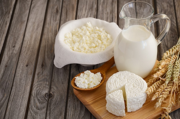 Fresh dairy products and wheat Premium Photo