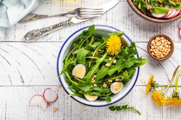 Fresh dandelion salad Premium Photo
