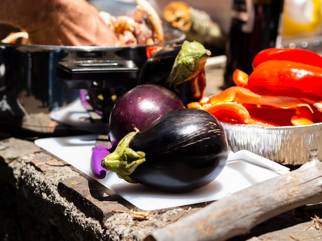Fresh eggplants ready for cooking Free Photo
