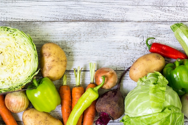 Fresh Farmers Market Vegetables Top View Background