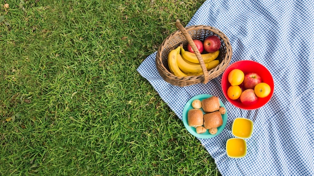 Fresh fruits; breads and glasses of juice on blanket over green grass Free Photo