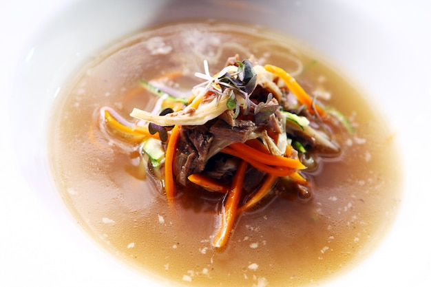 Fresh gourmet soup with meat Free Photo