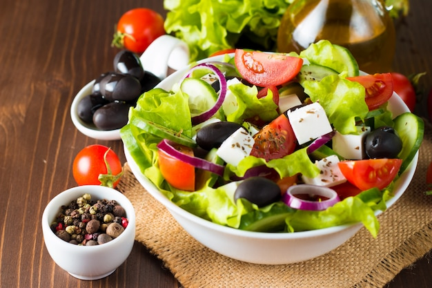 Fresh greek salad Premium Photo