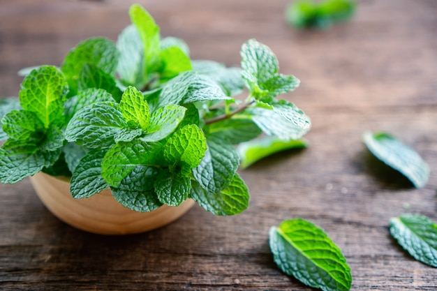 Fresh green mint leaves on wooden table closeup Premium Photo