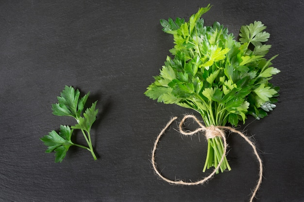 Fresh green parsley in bunch on black slate. Premium Photo