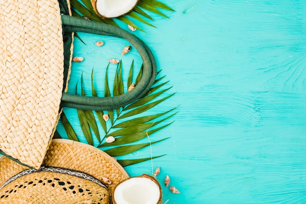 Fresh green plant leaves near handbag and hat with coconut Free Photo