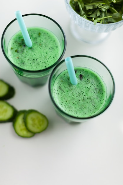 Fresh green smoothy drink Premium Photo