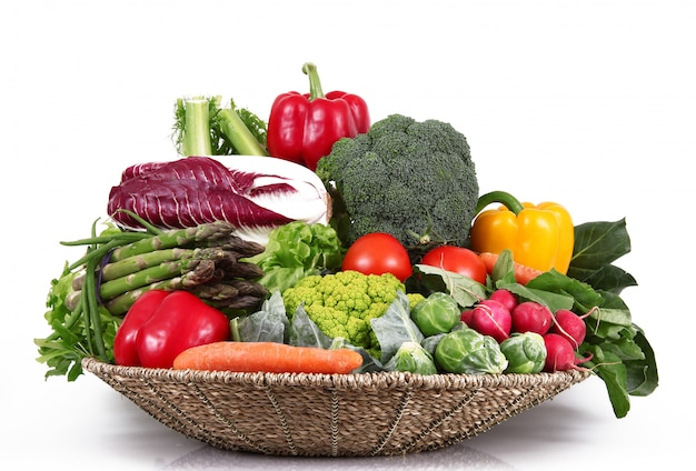 Fresh group of vegetables on white Premium Photo