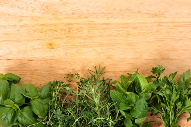 Fresh herbs on wooden board Free Photo