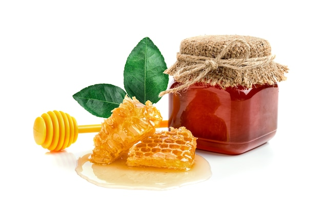 Fresh honey with honeycomb Premium Photo