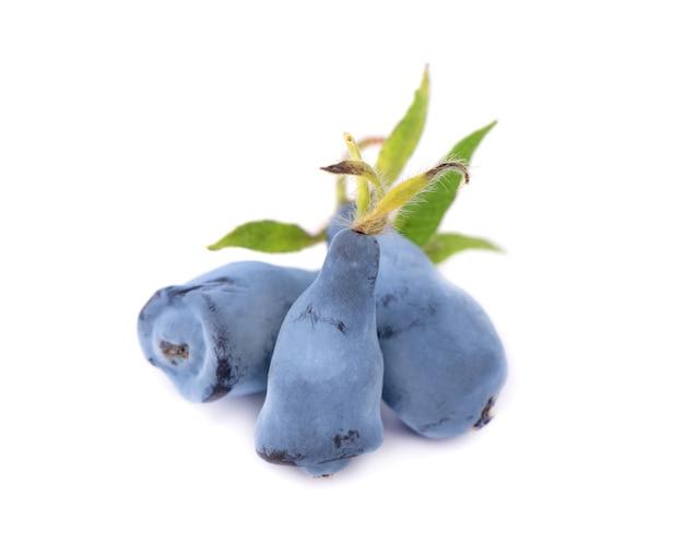 白で隔離の葉と新鮮なハスカップブルーベリーフルーツ Premium写真