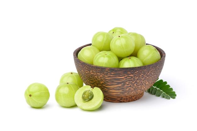 Fresh indian gooseberry fruits isolated on white Premium Photo
