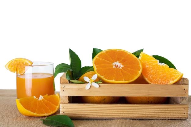 Fresh juicy orange fruit set over white Free Photo