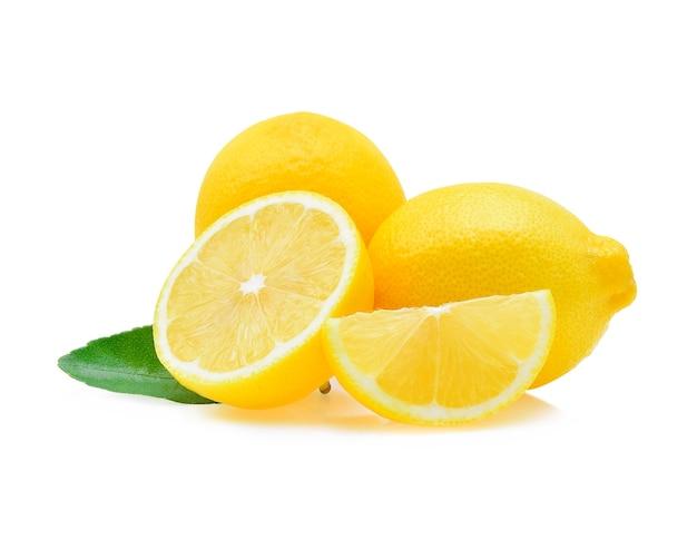 Свежий лимон, изолированные на белом фоне Premium Фотографии