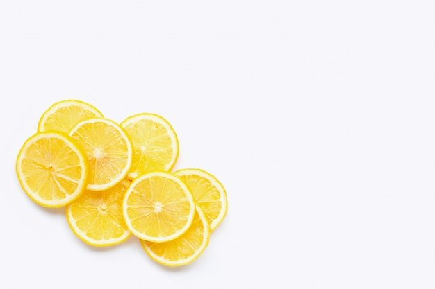 Fresh lemon  slices on white background. Premium Photo