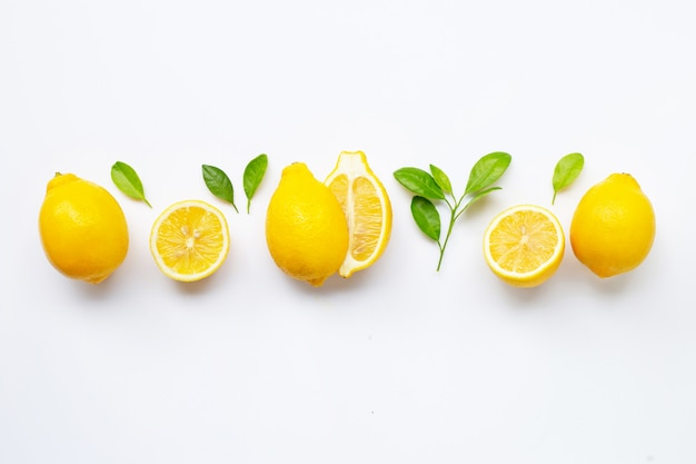 Fresh lemon with leaves isolated on white Premium Photo
