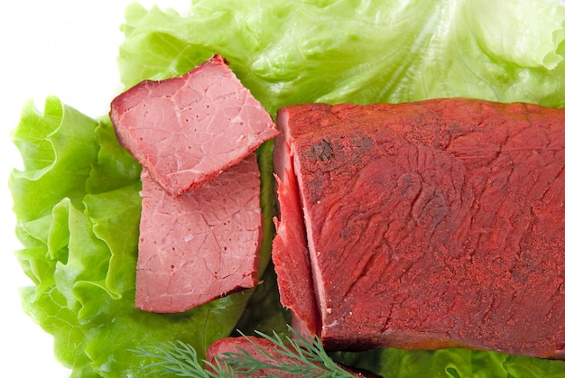 Fresh lettuce and beef meat isolated on white background Premium Photo