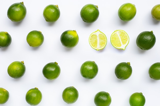 Fresh limes isolated pattern Premium Photo