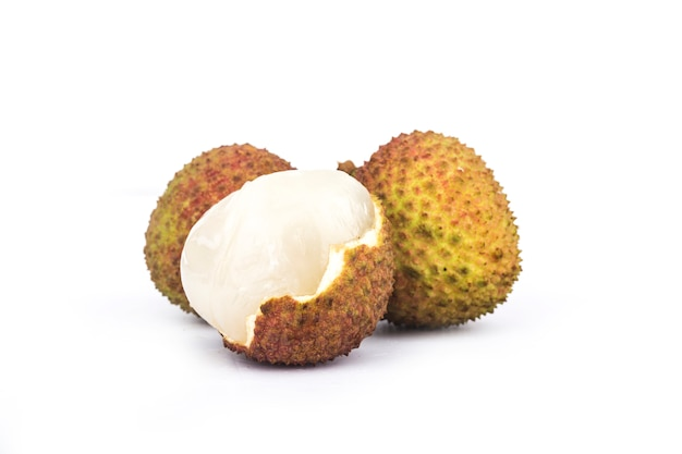 Fresh lychee with leaves isolated on white Premium Photo