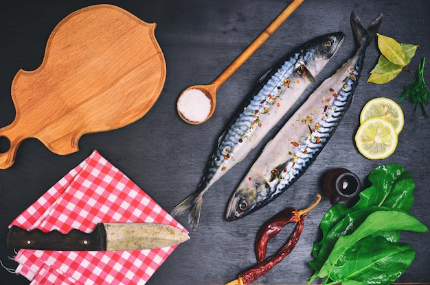 Fresh mackerel fish with spices, Premium Photo