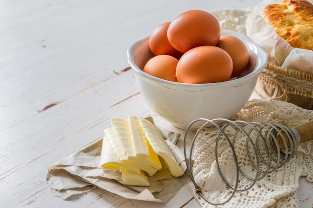 Fresh maket ingredients for baking easter bread Premium Photo