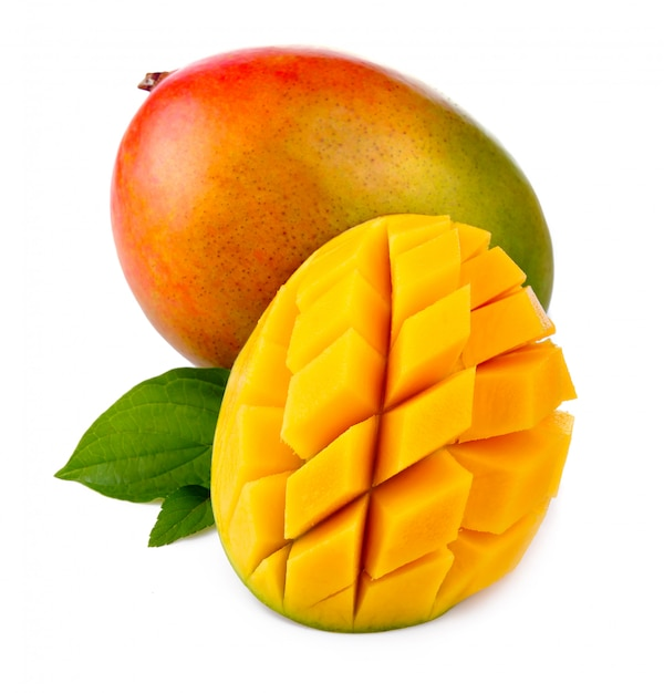 Fresh mango fruit with cut and green leafs isolated Premium Photo
