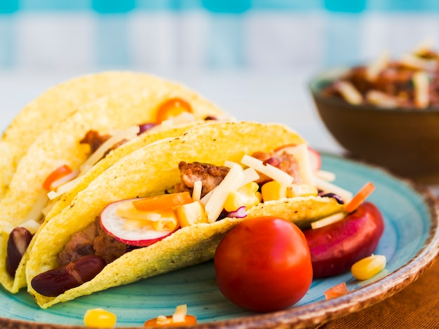 Fresh mexican tacos on plate Free Photo