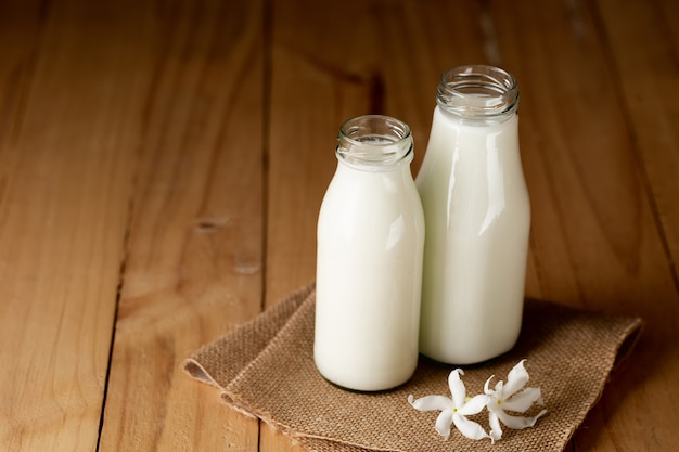 Fresh milk bottle and glass Free Photo