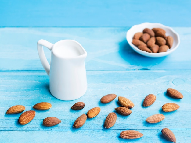 Fresh milk and some almonds Free Photo