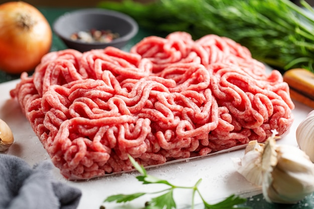 Fresh minced meat ready for cooking Free Photo