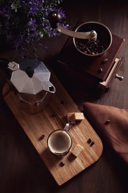 Fresh morning coffee. top view Premium Photo