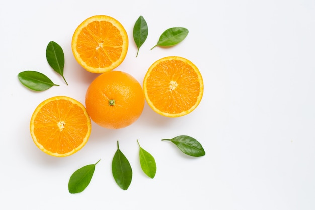 Fresh orange citrus fruit with leaves isolated on white background. Premium Photo