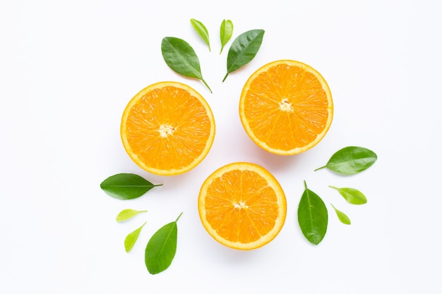 Fresh orange citrus fruit with leaves isolated on white background. Premium Photo