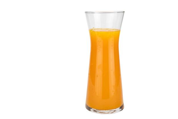 Fresh orange juice fruit drink glass over white Free Photo