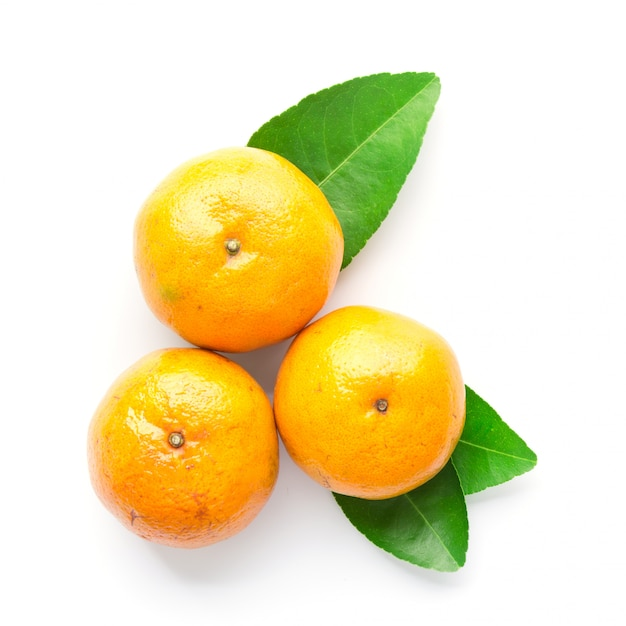 Fresh orange with leaf isolated on white in top view Premium Photo