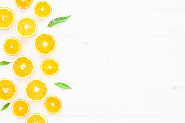 Fresh oranges slices on white background Premium Photo