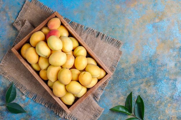 Fresh organic apricots,summer fruit, top view Free Photo