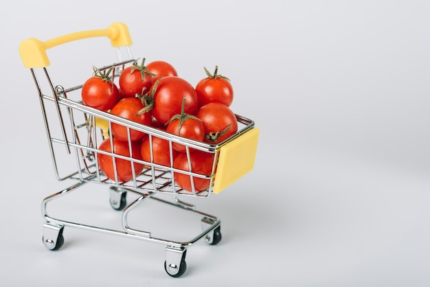 Fresh organic tomatoes in trolley on white backdrop Free Photo